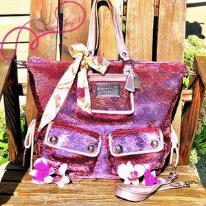 RARE* LTD COACH Poppy PINK Sequin Spotlight Bag XL